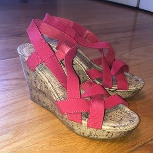 Montego Bay Cork Wedges with Pink/Coral Straps
